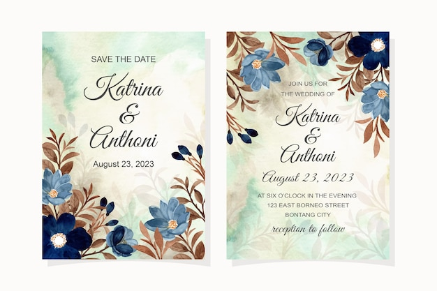 Wedding invitation card with blue flower and brown leaves watercolor