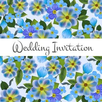 結婚式の招待状のカード、背景に青い花。