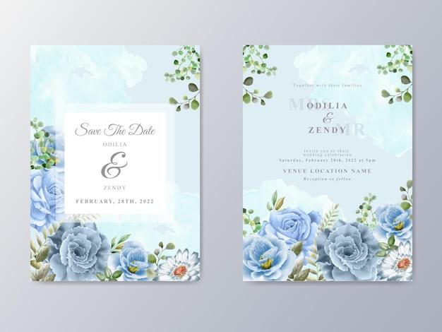 Свадебное приглашение с синими цветами акварель