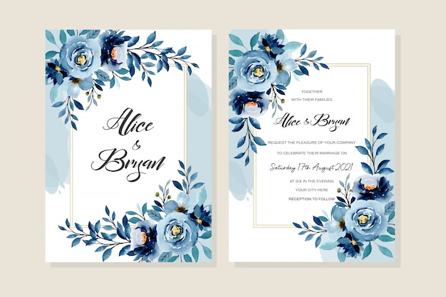 Wedding invitation card with blue indigo watercolor floral background