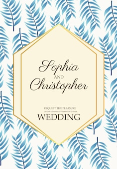 Wedding invitation card with blue leafs pattern  illustration