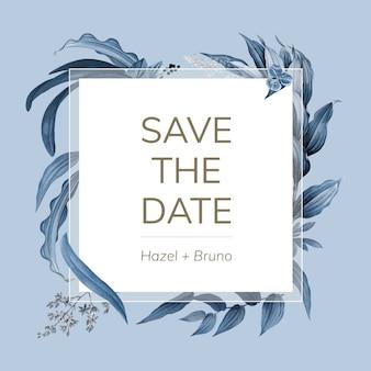 La carta dell'invito di nozze con le foglie blu progetta il vettore