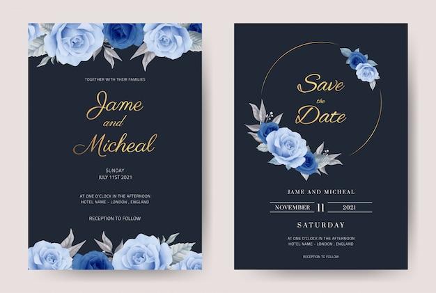 장식으로 파란 장미와 결혼식 초대 카드