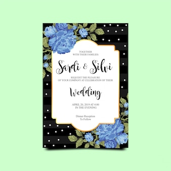 Wedding invitation card with blue roses