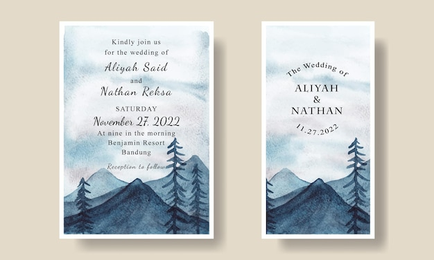 Wedding invitation card with blue sky mountain watercolor background editable