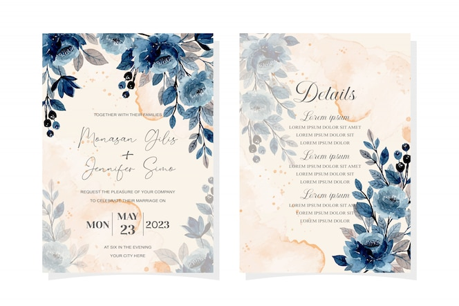 Wedding invitation card with blue watercolor floral abstract background