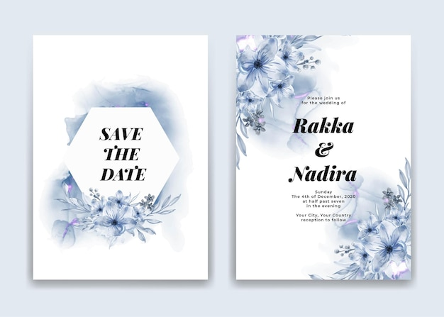 Wedding invitation card with blue waves shapes and flower