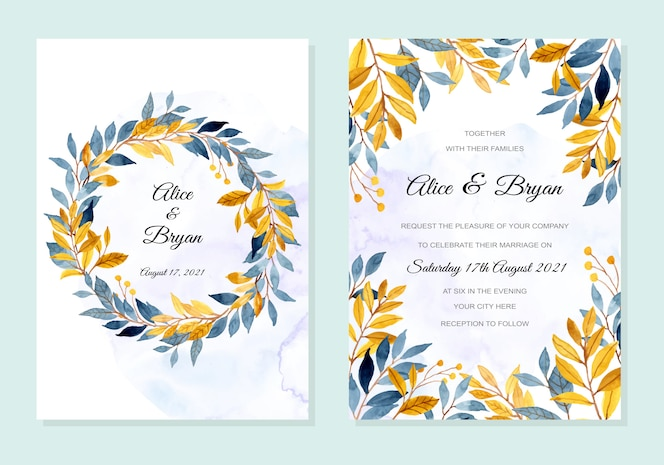 Wedding invitation card with blue yellow leaves watercolor