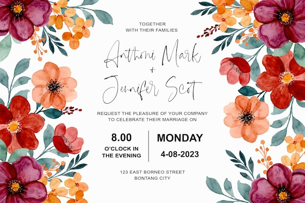 부르고뉴와 갈색 꽃 수채화와 결혼식 초대 카드