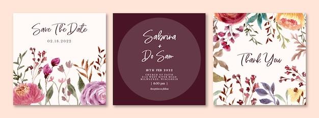 バーガンディの花の水彩画と結婚式の招待カード
