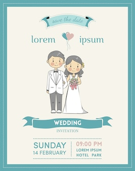Wedding invitation card with cartoon couple character and pastel color