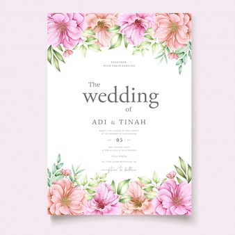 Wedding invitation card with cherry blossom floral design