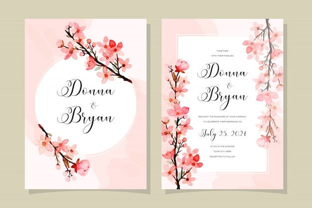 Wedding invitation card with cherry blossoms