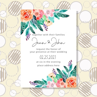 Wedding invitation card with circle pattern background