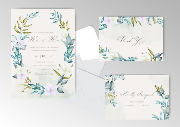 Wedding invitation card with classic style and watercolor