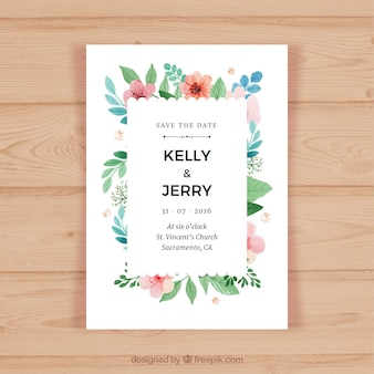 Wedding invitation card with colored flowers