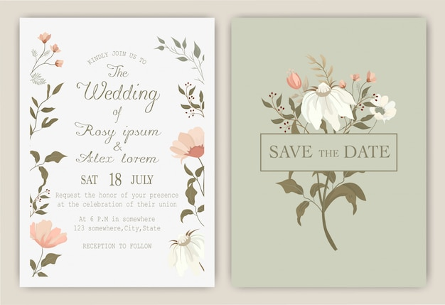 Wedding invitation card with colorful floral and leaves.