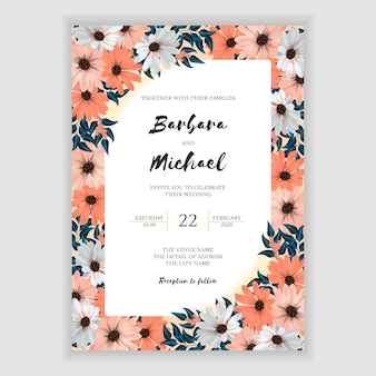 Wedding invitation card with colorful flower frame