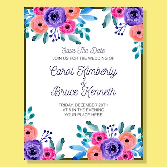 Wedding invitation card with colorful watercolor floral