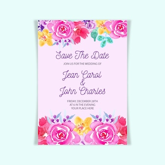 화려한 수채화 꽃 결혼식 초대 카드