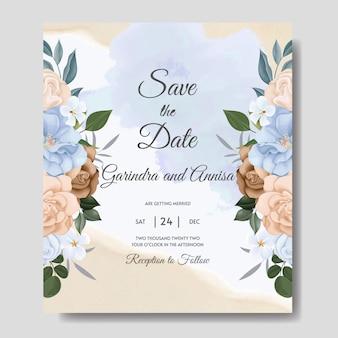 Свадебные приглашения с красочными синими и коричневыми цветами и листьями премиум вектор
