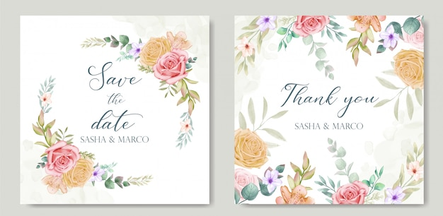 화려한 꽃과 잎 결혼식 초대 카드