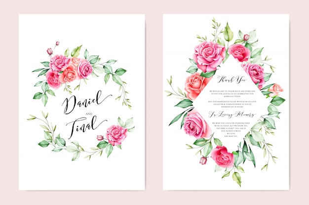 Wedding invitation card with colourful floral and leaves