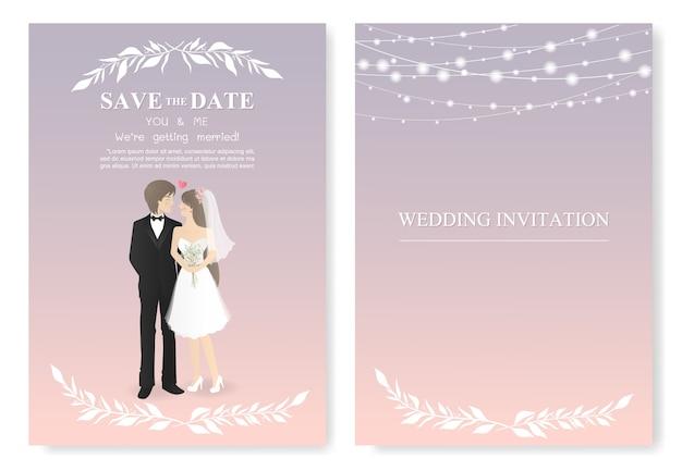 Wedding invitation card with couple warring wedding dress