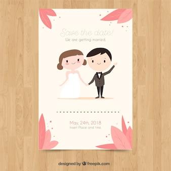 Wedding invitation card with cute couple