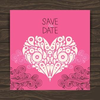 Свадебная пригласительная открытка с декоративным стильным сердцем