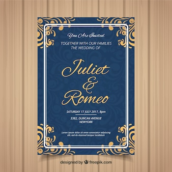 Wedding invitation card with different ornaments