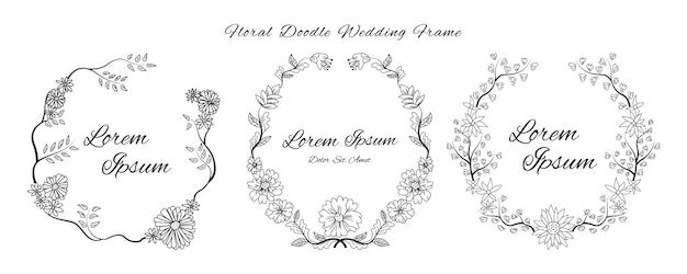 Wedding invitation card with doodle sketch outline floral and flower ornamental design style template