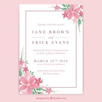 Wedding invitation card with elegant flowers