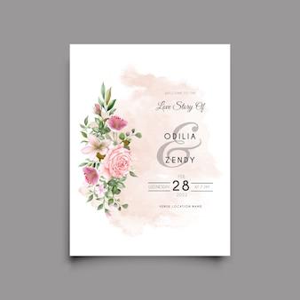 우아한 핑크 장미 디자인 결혼식 초대 카드