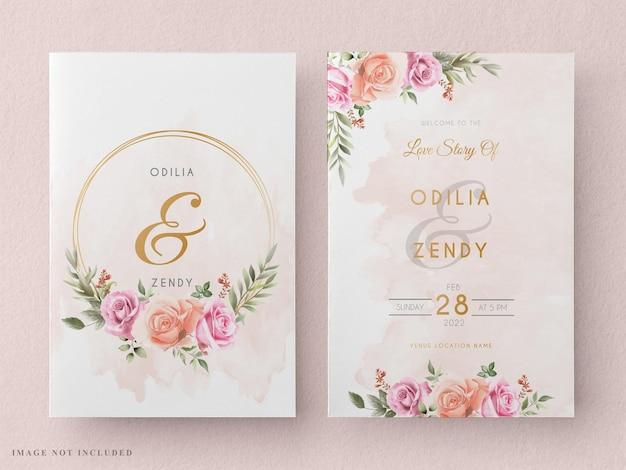 エレガントなバラの水彩デザインの結婚式の招待カード