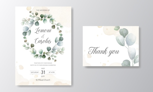 Wedding invitation card with eucalyptus leaves template