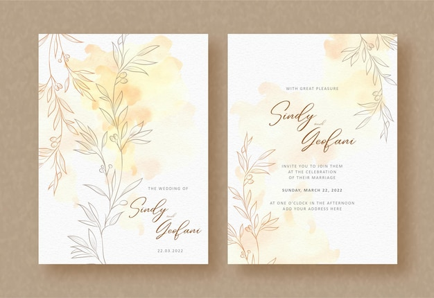 Wedding invitation card with exotic branch and leaves vector with splash watercolor backgroun
