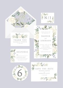 꽃과 나뭇잎 장식 결혼식 초대 카드