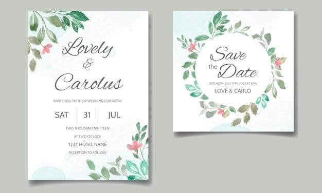 Свадебная пригласительная открытка с цветочными и листьями акварель