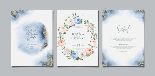 花と水彩で結婚式の招待カード