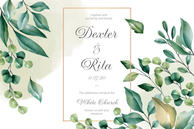 Wedding invitation card with floral borders