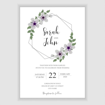 Wedding invitation card with floral hexagonal decoration
