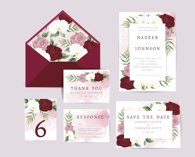 Wedding invitation card with floral and leaves decoration