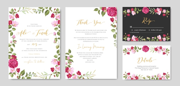 Wedding invitation card with floral and leaves frame template