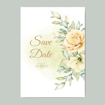 Wedding invitation card with floral leaves watercolor