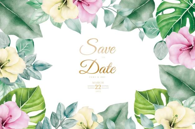 花の葉の水彩画と結婚式の招待カード