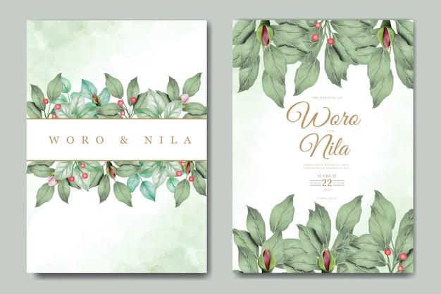 花の葉の水彩画の結婚式の招待状