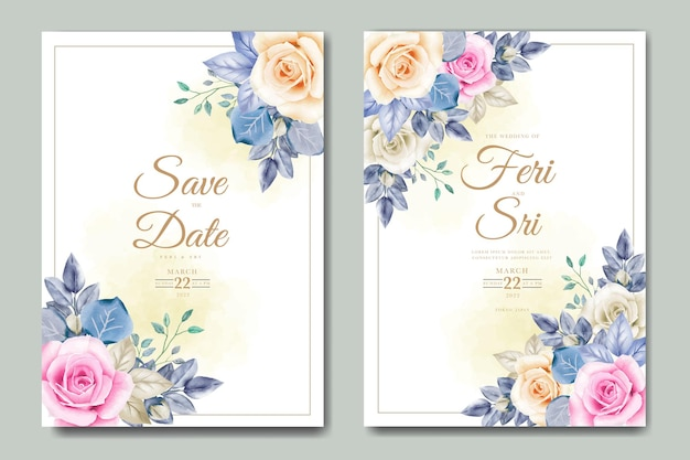 Свадебное приглашение с цветочными листьями акварель