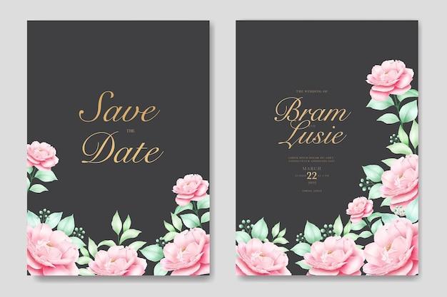 꽃 잎 수채화와 결혼식 초대 카드