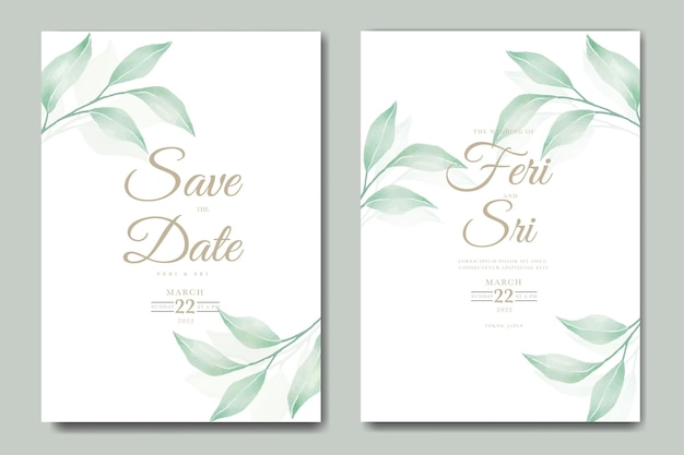 꽃 잎 수채화 결혼식 초대 카드